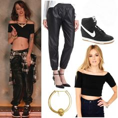 """Cher released the music video for her signal """"I wish"""" (Ft. T.I.) a while back. in one shot, she is seen dancing wearing a pair of piper Faux leather track pants ($39.97), a Misguided Siena Value Bardot croptop ($7.65), a pair of Nike Dunk Sky Hi Wedge Sneakers ($143.00) and a melody Ehsani don't mess with the queen necklace ($64.00)"""