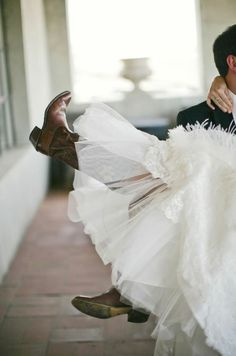 i Would love to wear cowboy boots under my wedding dress. :) At least for the reception part! Wedding Images, Wedding Pics, Wedding Dresses, Wedding Ideas, Wedding Rustic, Wedding Paper, Wedding Attire, Wedding Things, Wedding Bells