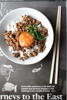 Spicy cured-yolk rice bowls - Lady and Pups Rice Bowls, Rice Dishes, Main Dishes, Cured Egg Yolk, Egg Yolks, Beef And Rice, Asian Recipes, Ethnic Recipes, Soul Food
