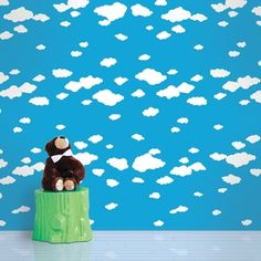 Summer Clouds Removable Wallpaper by WallCandy Arts. When you're working with simple temporary wallpaper, dressing your drabbest walls in this fun and colorful fluffy clouds design on blue background. Cloud Wallpaper, Kids Room Wallpaper, Rainbow Wallpaper, Vinyl Wallpaper, Colorful Wallpaper, Peel And Stick Wallpaper, Pattern Wallpaper, Wall Candy, Candy Art