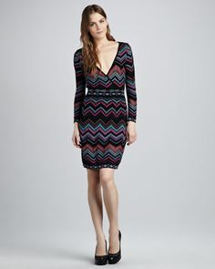 Zigzag Faux-Wrap Dress - Neiman Marcus