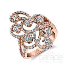 Parade Design BD3269A. Brilliant-cut white diamonds sparkle in 18K Rose gold.