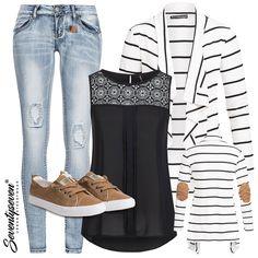 Streifen, die begeistern! #77onlineshop #styleboom #cardigan #striped #outfit #damenoutfit #frauenoutfits