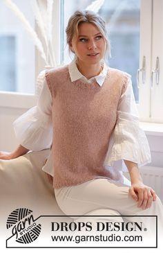 Knitting Patterns Free, Knit Patterns, Free Knitting, Free Pattern, Knit Vest Pattern, Drops Design, Blush Roses, Chain Stitch, Knitting Projects