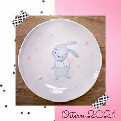 Painted Ceramics, Ceramic Painting, Teller, Plates, Tableware, Bunny, Easter Activities, Painted Pottery, Licence Plates