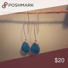 Simple BPD blue teardrop dangles Betsy Pittard Designs classic teardrop earrings in silver look with blue stone. Like new. Betsy Pittard Designs Jewelry Earrings