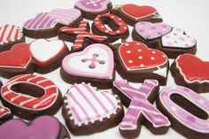 Yummy chocolate X O, heart cookies for valentines day