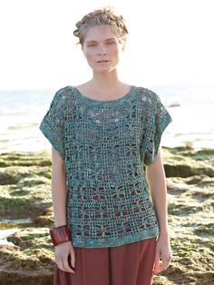 Crochet this womens openwork tee from the Silkystones Collection, designed by Marie Wallin using the exquisite yarn, Silkystones (silk and l...