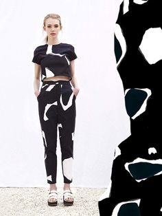 Crop top & trousers with big bold print; monochrome fashion // Cassie Byrnes
