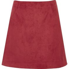 River Island Dark red faux suede mini skirt ($31) ❤ liked on Polyvore featuring skirts, mini skirts, tall skirts, mini skirt, red skirt, faux suede mini skirt and zipper skirt
