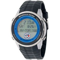 Toronto Blue Jays schedule watch. This MLB Baseball athletic watch comes pre-programmed with your favorite teams schedule displaying upcoming games, locations, and start times. It even plays a melody