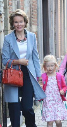 Queen Mathilde of Belgium and Princess Eleonore of Belgium arrive at Sint-Jans Berghmanscollege on the first day school on 01.09.2014 in Brussel, Belgium