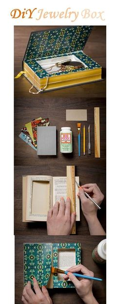 """DiY Jewelry Box! Itd be cool to make a """"book"""" for each category of Jewelry. One for earrings, one for bracelets, etc."""