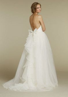This barely-there back. | 39 Wedding Dresses With Stunning Back Details You'll Swoon Over