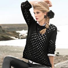Черный джемпер с ажурным узором - схема вязания спицами. Вяжем Джемперы на Verena.ru