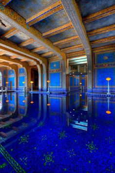 The Azure Blue Pool inside Hearst Castle in Monterey, California