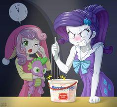 Rarity can't open her icecream bucket
