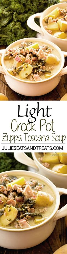 Light Crock Pot Zuppa Toscana Recipe ~ A Delicious Copy Cat Recipe of Olive Garden's Zuppa Toscana But Even Better Because It's Slow Cooked in Your Crock Pot and Lightened Up! Perfect Comfort Food Dinner!
