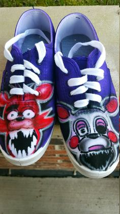 5daf608f4692 Five nights at freddys shoes Hand Painted by GothamCityAirbrush Foxy And  Mangle