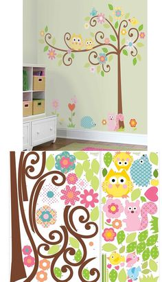Both sophisticated and fun, you'll love livening up your walls with this tree! Featuring funky, curly branches, brightly-colored flowers, and some friendly feathered friends, our Scroll Tree is the perfect touch to nurseries, bedrooms, and playrooms. Every element is repositionable, meaning it's easy to move the tree around as you like. No need to worry about getting it perfect on the first try!
