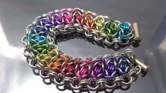 Rainbow / Gay Pride chain maille bracelet Byzantine by JoyasSuri, €26.00