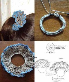 Tina's handicraft : gadget - New Ideas Crochet Hair Clips, Crochet Bows, Crochet Hair Styles, Diy Crochet, Crochet Crafts, Crochet Clothes, Crochet Flowers, Crochet Projects, Crochet Earrings
