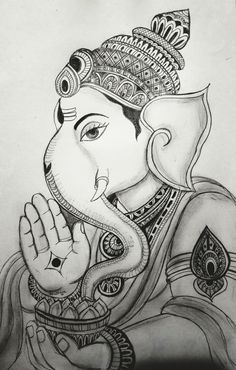 Ganesha Drawing, Lord Ganesha Paintings, Ganesha Art, Ganesha Sketch, Pichwai Paintings, Indian Art Paintings, Mural Painting, Art Drawings Sketches Simple, Pencil Art Drawings