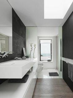 pictures of black white bathrooms | ... Modern Minimalist Black and White Bathroom Design with Plant Ornament