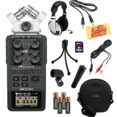 Zoom H6 Portable Handy Recorder Bundle with Hard Case, 16GB SD Card, Mic Stand Adapter, Mic Clip, Mini Tripod, Headphones, AA Batteries, 3.5mm Aux Cable, 1/8-Inch-to-RCA Cable, and Polishing Cloth