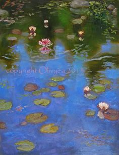 """Original Painting, Water Lilies, Landscape, Oil Paining, Fine Art, Impressionism, Ripples and Reflections, Nature, Pond... Large - 14 x 18"""" by Danielle Olivyea Christian"""