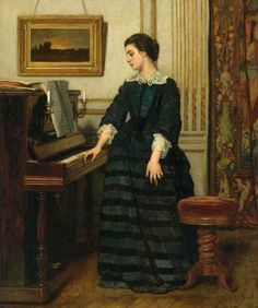 """L'Absence. Alfred Stevens (1823-1906). Stevens was admitted to the École des Beaux-Arts. Early painting shows his mastery of a conventional naturalistic style which owes much to 17th-century Dutch genre painting. He introduced subjects from """"la vie moderne"""" for which he became known: an elegant young woman in contemporary dress and the artist in his studio. Later seascapes were painted in a sketchy style that shows the influence of the Impressionists."""