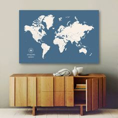 Push pin travel map world map push pin pin map custom map personalized push pin map large canvas map by canvastravelmaps gumiabroncs Image collections