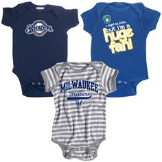 Milwaukee Brewers 3 Pack Boys Huge Fan Creeper Set by Soft as a Grape $32.99  - MLB.com Shop