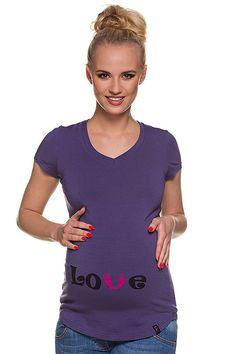 Fialové těhotenské tričko s nápisem T Shirts For Women, Tops, Fashion, Moda, Fashion Styles, Fashion Illustrations