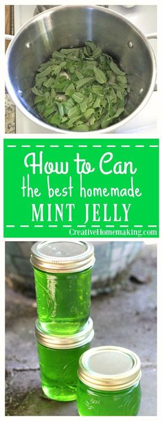 This mint jelly is very easy to make and has a wonderfully delicate mint flavor. Canning Recipes, Homemade Jam Recipes, Easy Canning, Herb Recipes, Homemade Jelly, Canning Tips, Home Canning, Canning Food Preservation, Preserving Food