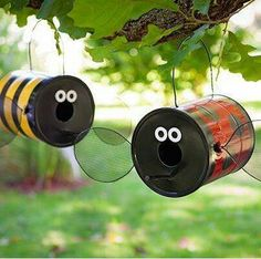 Adorable coffee can bird houses  http://betterbeemktg.com/coffee-can-bird-house/