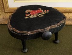 Wonderful $55.00 1940 12x6 Vintage Needlepoint Footstool Foot Stool Scottie Dog Red  Black Delightful Nice Look