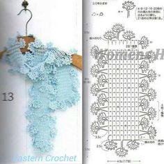 flower scarf with diagram Crochet Shawl Diagram, Crochet Cap, Crochet Motif, Crochet Stitches, Crochet Hooded Scarf, Crochet Scarves, Crochet Clothes, Crochet Flower Tutorial, Crochet Flowers