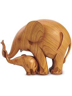 Mother & Baby Lucky Elephants Sculpture ❤ CHAOZHOU MINGWEI CERAMICS CRAF
