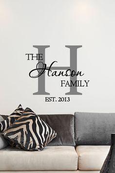 Custom Family Name & Monogram Vinyl Decal - Monogram Vinyl Wall Art Decal, Family Name Vinyl, Personalized Vinyl, Home Decor, Family, 11x11 by TheVinylCompany on Etsy