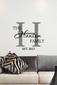 """Personalized Family Name & Monogram (year established) - Vinyl Art Wall Decal for the Home Living Room - 24"""" W x 21"""" H - pinned by pin4etsy.com"""