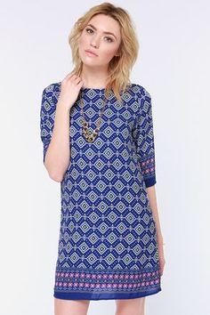 Prints Charming Blue Print Shift Dress