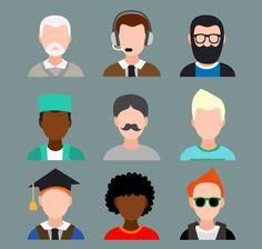 9 male avatar design vector material