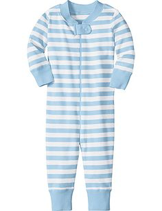 Night Night Baby Sleeper in Organic Cotton from Hanna Andersson in Swedish Sky/White-- up to size 90