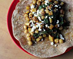 chickpea, swiss chard and sweet potato burritos
