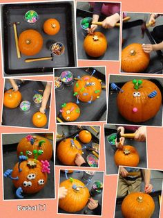 """Pumpkin monsters with golf tees, hammers and bodyparts from Rachel ("""",) Halloween, fall Activities For 2 Year Olds, Autumn Activities, Motor Activities, Work Activities, Halloween Crafts For Toddlers, Crafts For Kids, Halloween Stuff, Halloween Diy, Autumn Eyfs"""