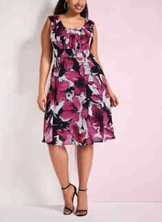 Floral Print Fit & Flare Dress
