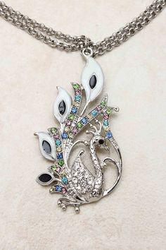 Silver Crystal Peacock Necklace | Emma Stine Jewelry Bracelets