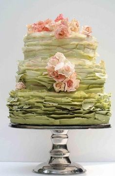 Ruffles ruffles ruffles. Ok, it's a wedding cake, but would be great for a party.