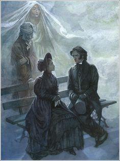 Scrooge rivede il suo primo amore, Bella. Illustrazione di P. J. Lynch.